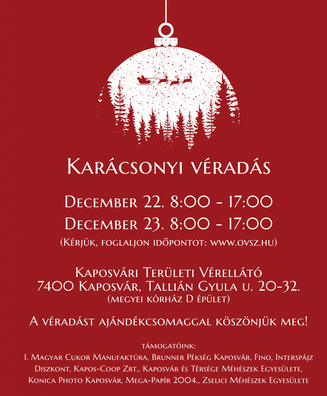 Karácsonyi véradás Kaposváron